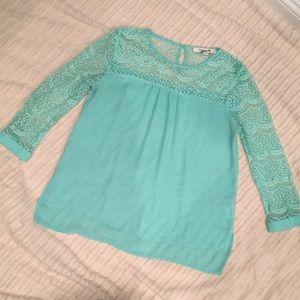 Turquoise Lace Sleeve blouse